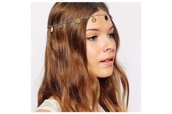 CanB Gold Head Chain Coin Pendant Hair Chain Boho Headpiece Sequin Headband Vintage Hair Jewellery Charm Hair Accessories for Women Girls