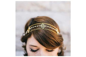 CanB Boho Leaf Head Chain Bridal Wedding Hair Accessories and Headpieces Jewellery for Women