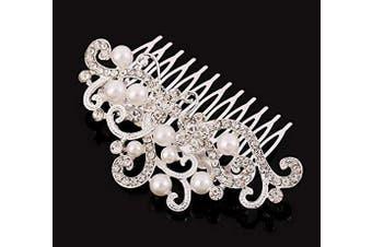 (Silver) - Asooll Wedding Hair Comb Rhinestones Opal Crystal Hair Piece Bridal Hair Clips Accessories for Women and Girls (Silver)