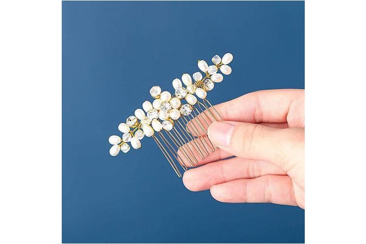 (Gold) - Catery Flower Bride Wedding Hair Comb Hair Accessories with Pearl Bead Bridal Side Combs for Women (Gold)