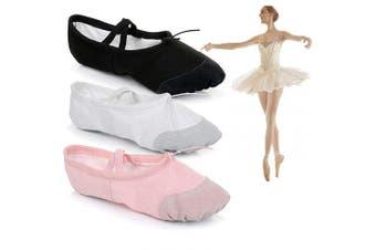 (Black, adult size 6) - Amazing Tour Ballet Canvas Dance Shoes Gymnastic Yoga Shoes Flat Split Sole Adult's & Children's Sizes Black