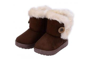 (9 UK Child, Brown) - Amitafo Girl's Winter Snow Boots Kids Fur Lined Warm Ankle Boots Toddler First Walking Shoes Soft Sole Cotton Booties