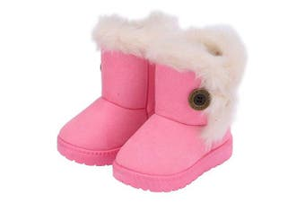 (7.5 UK Child, Pink) - Amitafo Girl's Winter Snow Boots Kids Fur Lined Warm Ankle Boots Toddler First Walking Shoes Soft Sole Cotton Booties