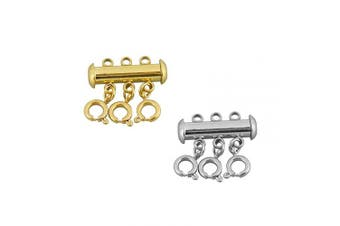 (gold and silver) - 6 Pieces Necklace Spacer Layering Clasps Slide Magnetic Tube Lock Multistrand Clasps for Layered Necklace Clasp Jewellery Crafts (3 Strand,Gold & Stainless Steel)
