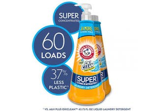 (2 Bottles) - Arm & Hammer Plus Oxiclean Super Concentrated Laundry Detergent, 2 X 450ml Bottles with Reusable Pump (60 Loads), 900ml