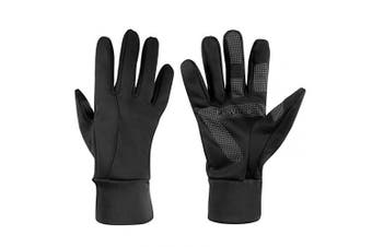 (Large, Black) - Winter Thermal Gloves with Touch Screen Fingers - Windproof Water Resistant Warm Glove for Running Cycling Driving Snow Skiing Ice Fishing for Men and Women