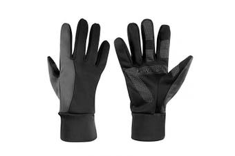 (Medium, Black-gray) - Winter Thermal Gloves with Touch Screen Fingers - Windproof Water Resistant Warm Glove for Running Cycling Driving Snow Skiing Ice Fishing for Men and Women