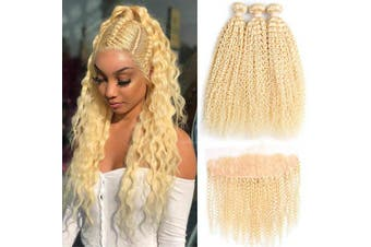 (121416+25cm , Curly) - ALOT 613 Bundles with Frontal Blonde Curly Human Hair 3 Bundles and Lace Frontal Malaysian Kinky Curly Honey Blonde Hair Transparent Colour Lace with Baby Hair Can Be Dyed (121416+25cm , Curly)