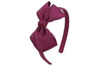 (Burgundy) - 7Rainbows Cute Burgundy Bow Headband for Girls Toddlers.