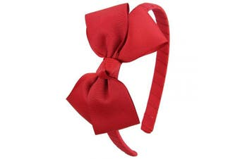(Red) - 7Rainbows Fashion Cute Red Bow Headband for Girls Toddlers.