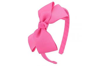 (Hot Pink) - 7Rainbows Cute Hot Pink Bow Headband for Girls Toddlers.