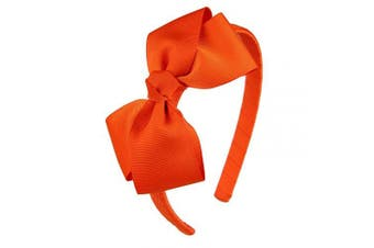 (Orange) - 7Rainbows Cute Orange Bow Headband for Girls Toddlers.