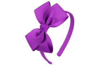 (Purple) - 7Rainbows Cute Purple Bow Headband for Girls Toddlers.