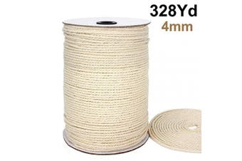 (4mmx300m(about 328 yd))) - Blisstime Macrame Cord 4mm X 328Yards |Natural Cotton Macrame Rope|3 Strand Twisted Cotton Cord | Soft Undyed Cotton Rope for Wall Hangings, Plant Hangers, Crafts, Knitting, Decorative Projects