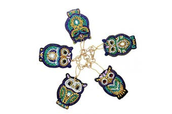 (Owl) - Apipi 5 Pcs DIY Diamond Painting Keychain- 5D Mosaic Full Drill Stick Paint with Diamonds by Numbers Key Chain Pendant Kits for Art Craft Bag Decor, Phone Straps, Key Ring (Owl)
