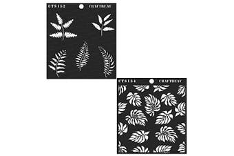 """(Ferns & Tropical Leaves 6""""X6"""") - Craftreat Stencil - Ferns and Tropical Leaves (2 pcs) - Reusable Painting Template for Journal, Home Decor, Crafting, DIY Albums, Scrapbook and Printing on Paper, Floor, Wall, Tile, Fabric 15cm x 15cm"""