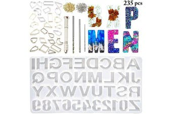 (253pcs) - Outgeek Backward DIY Casting Mould Reversed Number Alphabet Mould Jewellery Casting Mould DIY Craft Mould