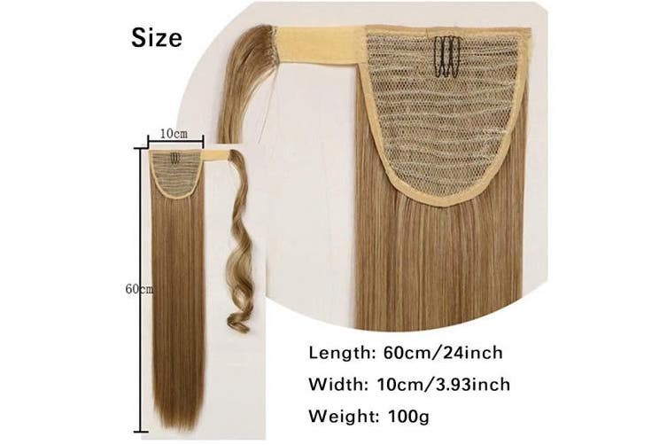 (#6B-cdark brown) - iIUU Clip in Ponytail Extension Wrap Around Long Straight Hair Extension 60cm Dark Brown Colour Synthetic Hairpiece (100g, 6B)
