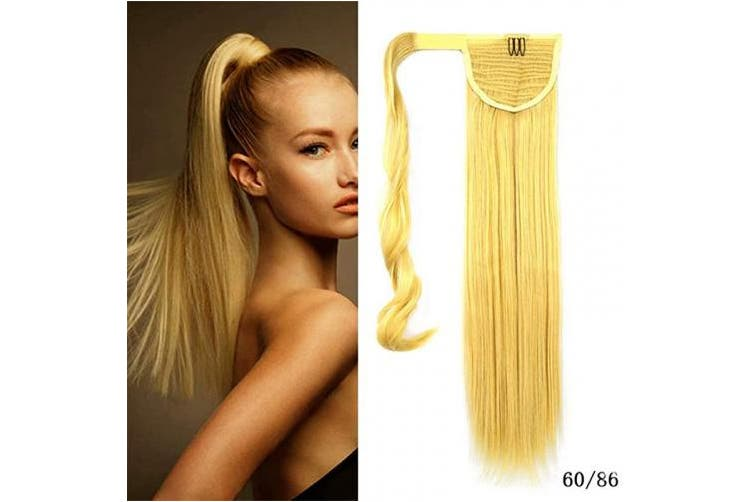 (60/86-platinum blonde/yellow blonde) - iLUU Platinum Blonde with Yellow Blonde Highlights Wrap Around Synthetic Ponytail Clip in Hair Extensions One Piece Magic Paste Long Straight Soft Silky Pony Tail for Women Fashion Beauty #60H86
