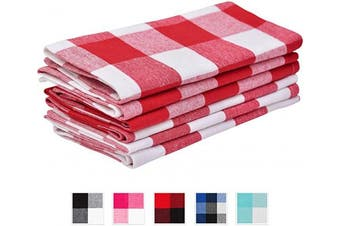 (Napkins, Checked (Red and White)) - Buffalo Plaid Napkins - Chequered Napkin - Buffalo Checked Cotton Napkins - Red Kitchen Napkins - Plaid Napkins Cloth - Checked Kitchen Napkin - Checked Napkin Cotton Set of 6 (18x18), Red and White