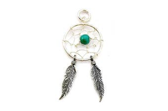 925 Sterling Silver Dream Catcher Pendant with Turquoise Stone, Feather, Spider Web