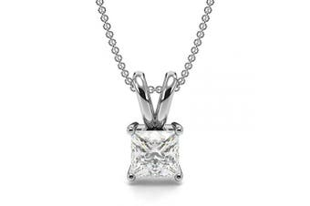 (18ct White Gold, 0.1 carats) - Abelini Certified 100% Natural Princess Solitaire Diamond Pendant Necklace for Women (Available in 0.10-1.00ct & Yellow, White Gold & platinum)