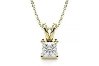 (18ct Yellow Gold, 0.2 carats) - Abelini Certified 100% Natural Princess Solitaire Diamond Pendant Necklace for Women (Available in 0.10-1.00ct & Yellow, White Gold & platinum)