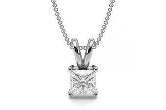 (9ct White Gold, 0.3 carats) - Abelini Certified 100% Natural Princess Solitaire Diamond Pendant Necklace for Women (Available in 0.10-1.00ct & Yellow, White Gold & platinum)