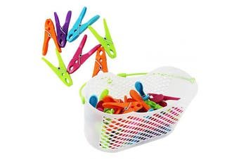 (0031-piece Set 1 - Basket + Brackets) - COM-FOUR® 30x clothespins in practical basket with handle (0031-piece set 1 - basket + brackets)