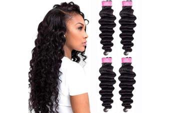 (60cm  60cm  70cm  70cm , Natural Black) - Brazilian Loose Deep Wave Human Hair 4 Bundles(60cm 60cm 70cm 70cm ) Unprocessed 10A Virgin Human Hair Bundles Brazilian Loose Deep Curly Weave 4 Bundle Deals