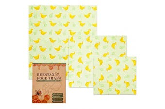 G.a HOMEFAVOR Beeswax Food Wraps, Set of 3: Small Medium and Large Food Covers, Reusable Eco-Friendly Washable Food Wraps,Zero Waste, Cling Film Alternative (Banana)