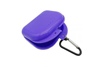 (Purple) - AIWAYING Retainer Case Mouth guard Denture Box with Carabiner Clip Purple