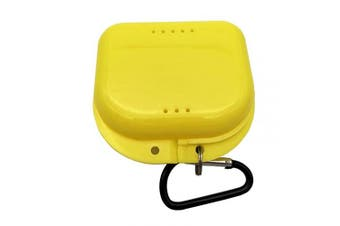 (Yellow) - AIWAYING Retainer Case Mouth guard Denture Box with Carabiner Clip Yellow