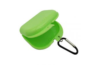 (Green) - AIWAYING Retainer Case Mouth guard Denture Box with Carabiner Clip Green