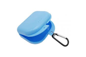 (Blue) - AIWAYING Retainer Case Mouth guard Denture Box with Carabiner Clip Blue