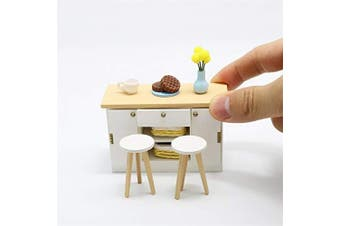 Cool Beans Boutique Miniature Dollhouse Furniture DIY Kit – Kitchen Counter and Stools – 1:18 Scale Miniature Furniture