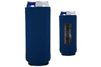 (1, Navy Blue) - Magnetic Neoprene Collapsible Slim Can Coolie (Navy Blue, 1)