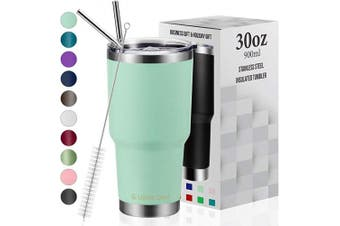 (890ml, Tiffany Blue) - Umite Chef Tumbler Double Wall Stainless Steel Vacuum Insulated Travel Mug with Lid, Insulated Coffee Cup, 2 Straws, for Home, Outdoor, Office, School, Ice Drink, Hot Beverage (Tiffany Blue, 890ml)
