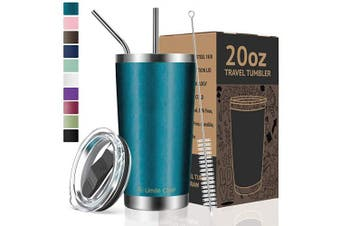 (590ml, Blue Green) - Umite Chef 590ml Tumbler Double Wall Stainless Steel Vacuum Insulated Travel Mug with Lid, Insulated Coffee Cup, 2 Straws, for Home, Outdoor, Office, School, Ice Drink, Hot Beverage (590ml, Blue Green)