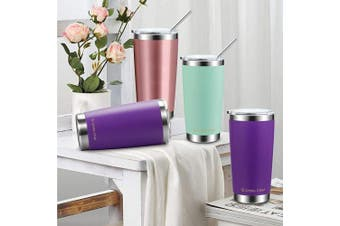 (590ml, Pink) - Umite Chef 590ml Tumbler Double Wall Stainless Steel Vacuum Insulated Travel Mug with Lid, Insulated Coffee Cup, 2 Straws, for Home, Outdoor, Office, School, Ice Drink, Hot Beverage (590ml, Pink)