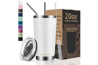 (590ml, White) - Umite Chef 590ml Tumbler Double Wall Stainless Steel Vacuum Insulated Travel Mug with Lid, Insulated Coffee Cup, 2 Straws, for Home, Outdoor, Office, School, Ice Drink, Hot Beverage (590ml, White)