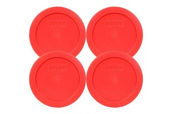 (4, Red) - Pyrex 2 Cup Round Storage Cover #7200-PC for Glass Bowls (4, Red)
