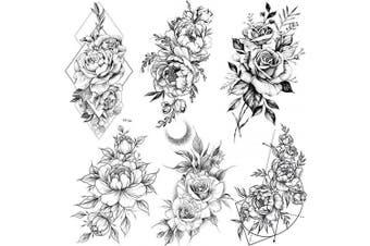 COKTAK 6 Pieces/Lot Realistic Large Black Rose Flower Temporary Tattoos For Women Body Art Arm Legs Big Peony Geometric Tattoo Stickers Adults Fake Waterproof Tatoo Sketch Sexy Girl Peach Lily