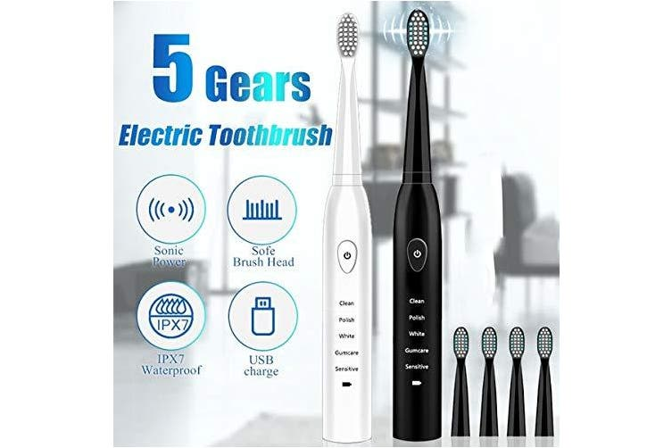 (white) - RED-NI Sonic Electric Toothbrush, 4 Free Replacement Heads Included as Gifts Ideal for Adult Children and Couples Use USB Fast Charging Waterproof Toothbrush,Model: ET201 (white)