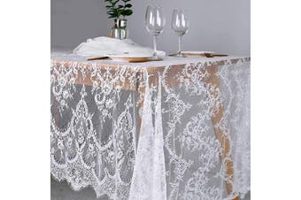 (1pc 60x120 Inch) - B-COOL 150cm x 300cm Classic White Lace Tablecloths for Weddings Rose Vintage Embroidered Lace Table Runner Overlay for Baby Bridal Shower Decor