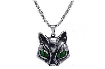 (Cat Green-eye) - Cat Head Eye Necklace Pendant, LOYEH Vintage Gothic Necklaces Pendants Men Women Gift Jewellery Evil Green Eye 3.6cm x 3.6cm