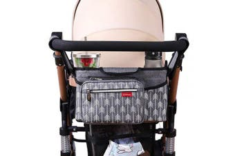 (Grey) - Lekebaby Baby Stroller Organiser with Cup Holders-Universal Stroller Organiser Accessory Fit for All Baby Stroller (Arrow Print)-Grey