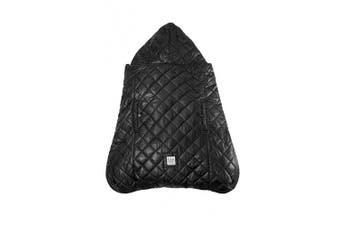 (Black Plush) - 7AM Enfant K-Poncho Ergonomic Baby Carrier Cover, Fits Over Stroller & Car Seat (Black Plush)