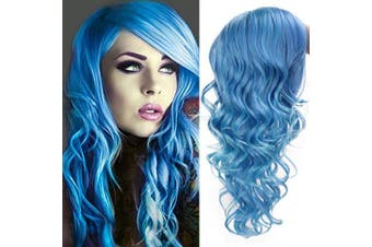 (Blue) - AISI HAIR Long Wavy Blue Hair Wig with Bangs Cosplay Halloween Party Wigs Synthetic Heat Resistant Fibre Hair