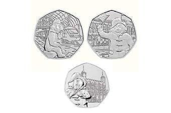 50p Set of 3 Uncirculated Paddington Bear coins- At the Tower,Station and Palace